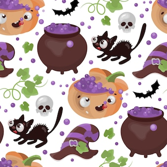 Halloween potion pompoen kat platte ontwerp grappige cartoon hand getekend naadloze patroon illustratie