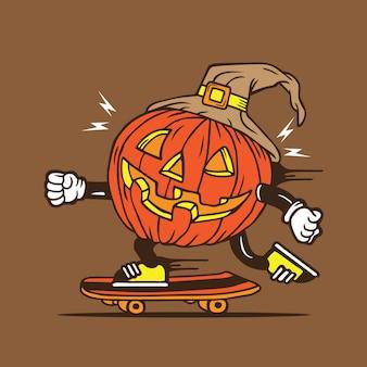 Halloween pumpkin skater skateboard characterdesign