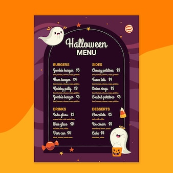 Halloween restaurant menusjabloon