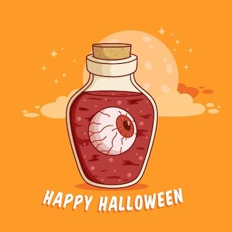 Halloween rode ogen in de magische fles of pot met plat ontwerp beste gebruik voor poster webbanner