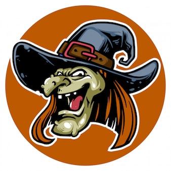 Halloween's heks met eng gezicht klaar om je te vervloeken