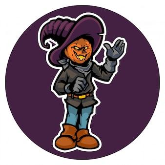 Halloween's lantaarn met zijn kostuum