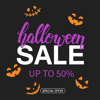 Halloween sale poster met handgetekende letters. tot 50%. speciale aanbieding