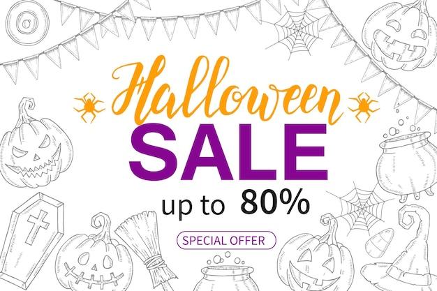 Halloween sale-poster met handgetekende pompoen jack, heksenhoed, bezem, snoep, snoepwortels, kist, pot met drankje / tot 80%. speciale aanbieding