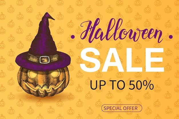 Halloween sale poster met letters op oranje achtergrond met jack lamp in heksenhoed. schetsen. tot 50%. speciale aanbieding