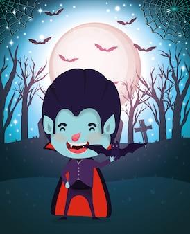 Halloween-scène met dracula van het jongenskostuum