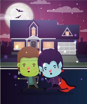 Halloween-scène met kinderen in de buurt gekostumeerd