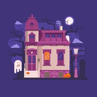 Halloween-scènes met oud spookhuis