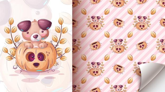 Halloween schattige hond naadloze patroon vector eps 10