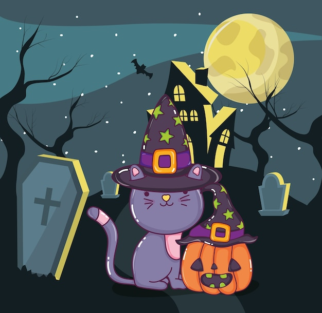 Halloween schattige kat cartoon