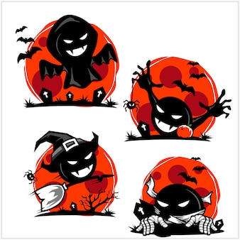 Halloween schedel cartoon logo set