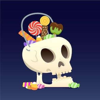 Halloween schedel tas plat ontwerp