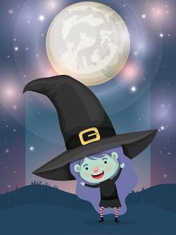 Halloween-seizoenscène met de heks van het meisjeskostuum