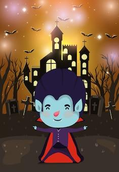 Halloween-seizoenscène met dracula van het jongenskostuum