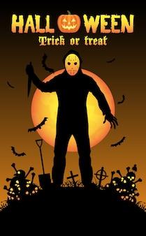 Halloween seriemoordenaar in een kerkhof