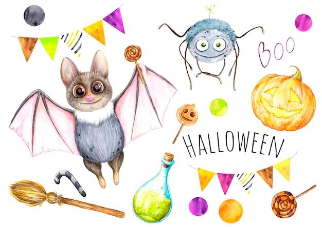 Halloween set aquarel illustraties