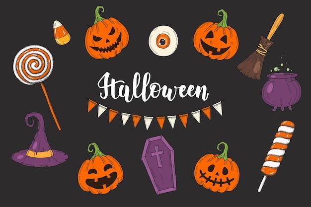 Halloween set hand getrokken gekleurde pompoenen jack, heksenhoed, heksenbezem, kist, snoep, lollies, pot met toverdrank en feestelijke slingers. schets, brief