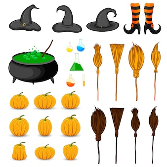 Halloween set met traditionele attributen. cartoon stijl. vector.