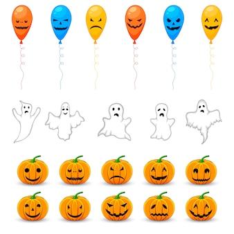 Halloween set met traditionele attributen. cartoon stijl.