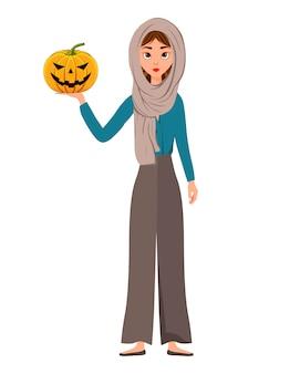 Halloween set van vrouwelijke personages. meisje met pompoen in haar handen. illustratie.