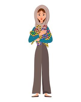 Halloween set van vrouwelijke personages. meisje met vakantiesuikergoed in haar handen.