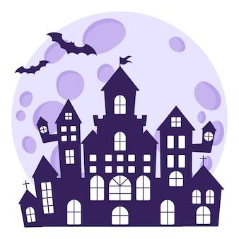Halloween silhouet van een middeleeuws spookkasteel op de achtergrond van een volle maan en vleermuizen.