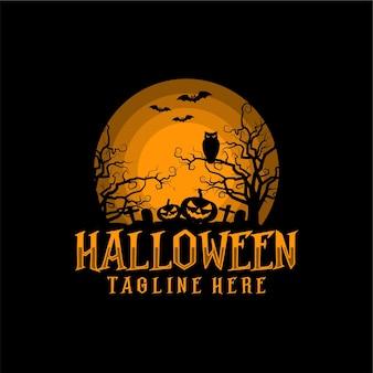 Halloween silhouet vector illustratie logo ontwerp