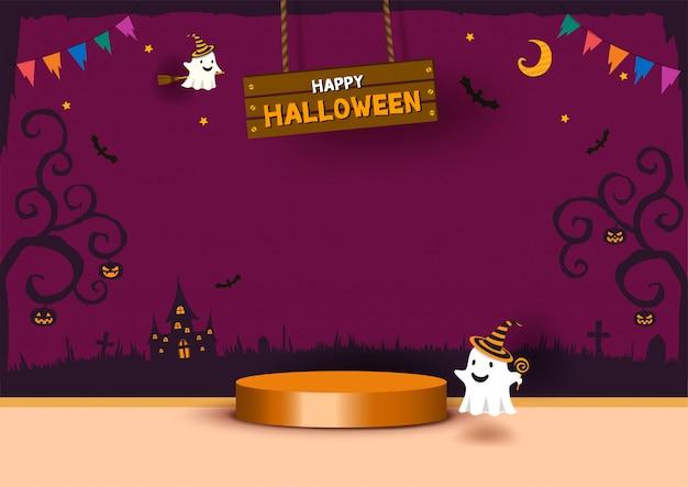 Halloween-sjabloon voor partij 3d scène met spook en cilinderpodium