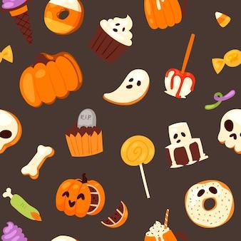 Halloween snoep naadloos patroon.