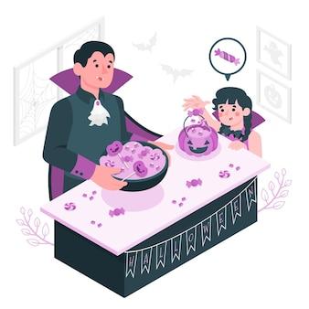 Halloween snoepjes mand concept illustratie voorbereiden