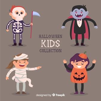 Halloween-soorteninzameling in vlak ontwerp