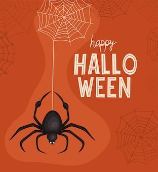 Halloween spider cartoon met spinnenwebben ontwerp, vakantie en eng thema