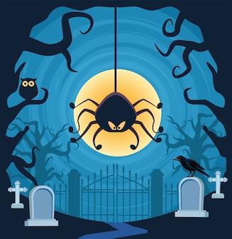 Halloween-spin die in begraafplaatsscène hangt