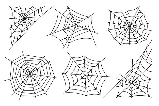 Halloween-spinneweb op witte achtergrond wordt geïsoleerd die