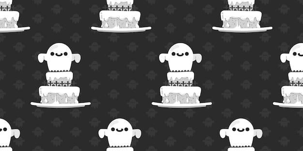Halloween-spook bovenop cake naadloos patroon.