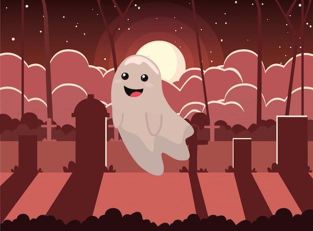 Halloween-spook met maan in begraafplaatsscène