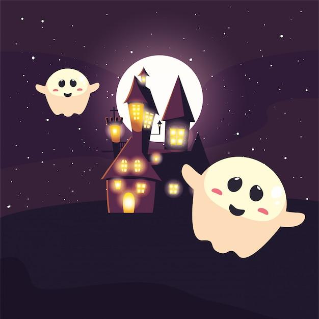 Halloween-spook met maan in scène van halloween