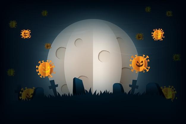 Halloween-spookachtige nacht in covid-19-preventie, coronavirus-achtergrondpapierkunststijl. volle maan en grafsteen op kerkhof.