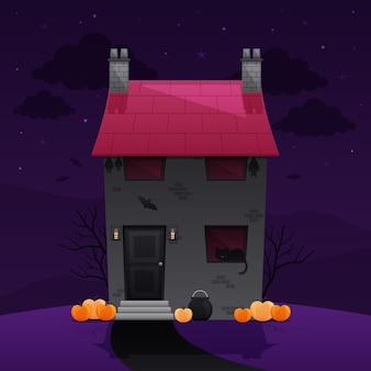 Halloween spookhuis illustratie