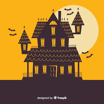 Halloween-spookhuis met plat ontwerp