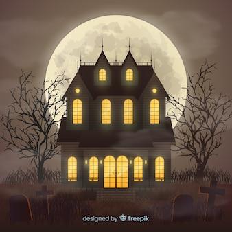 Halloween-spookhuis met realistisch ontwerp