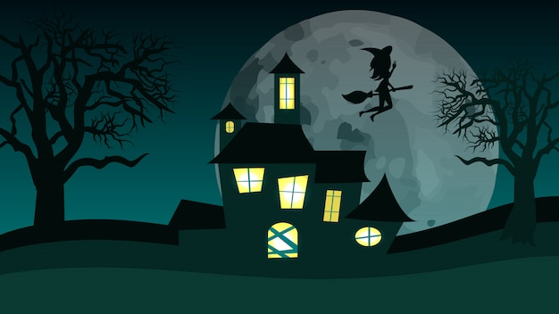 Halloween spooky monster house. vliegende heks.