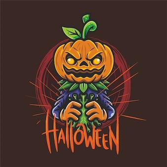 Halloween spooky pumpkin kill virus covid 19 met handen vector tekening