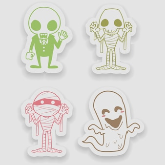 Halloween-stickerhand getrokken vector