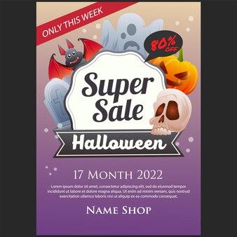 Halloween super verkoop poster met schedel