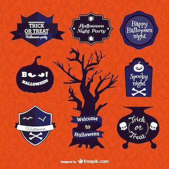 Halloween symbolen en badges vector set