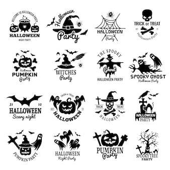 Halloween symbolen. enge logo collectie horror badges pompoen schedel en botten spook ontwerpsjabloon