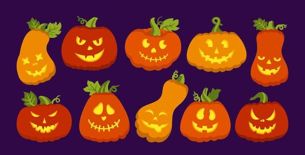 Halloween symbool pompoen gloeit platte cartoon set pompoenen met bang of smileygezichten griezelige grijns