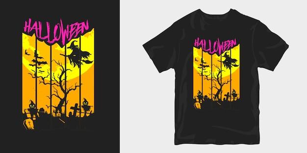 Halloween-t-shirtontwerp griezelige illustratiesilhouetten