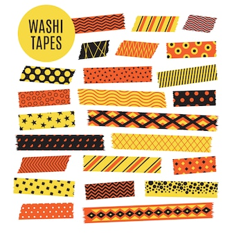 Halloween tape strips. oranje en zwarte halloween-patronen. plakboek elementen
